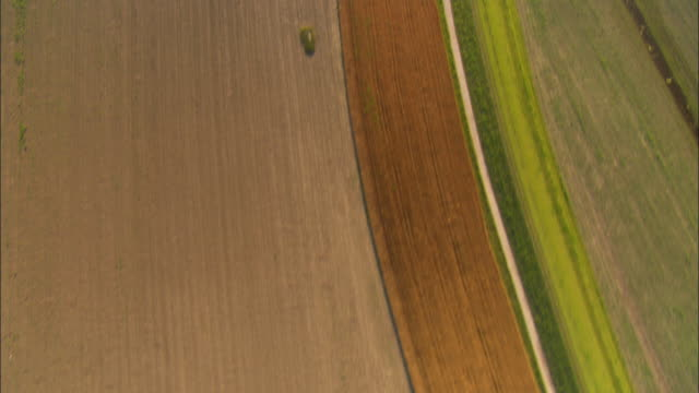 AERIAL OH shot Farms and plowed fields/ St. Louis, Missouri