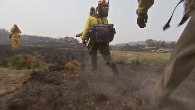 shot following a group of firefighters as they walk across terrain and charred vegetation in australia. - environment or natural disaster or climate change or earthquake or hurricane or extreme weather or oil spill or volcano or tornado or flooding stock videos & royalty-free footage