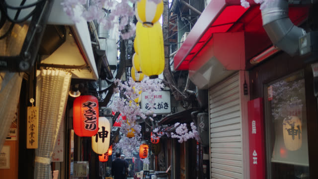 pov shot following man down yakitori alley, tokyo - travel destinations点の映像素材/bロール