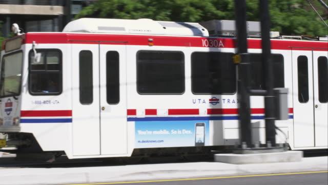 Shot following tram pass by in Salt Lake City.