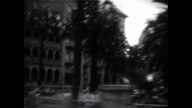 shot from a moving car of streets of florida palm trees and tall buildings - ヤシ点の映像素材/bロール