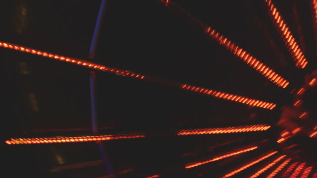 POV shot from a waltzer car showing the illuminated roof of the fairground ride as the car rotates, Essex, UK.