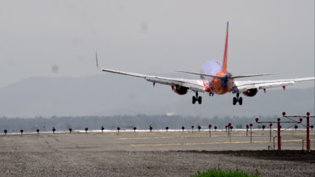 shot from behind a commercial airliner touching down on runway. - runway stock videos and b-roll footage