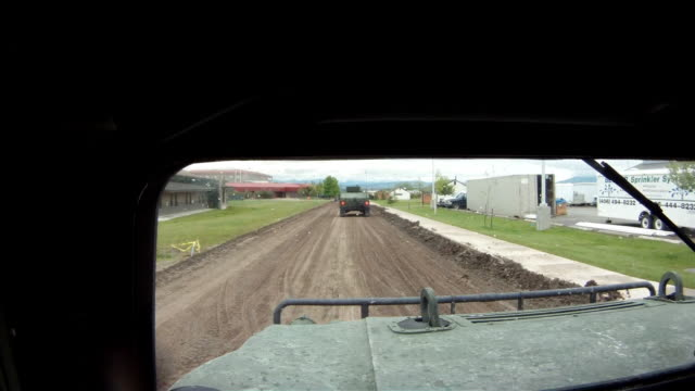 POV shot from driving Humvee