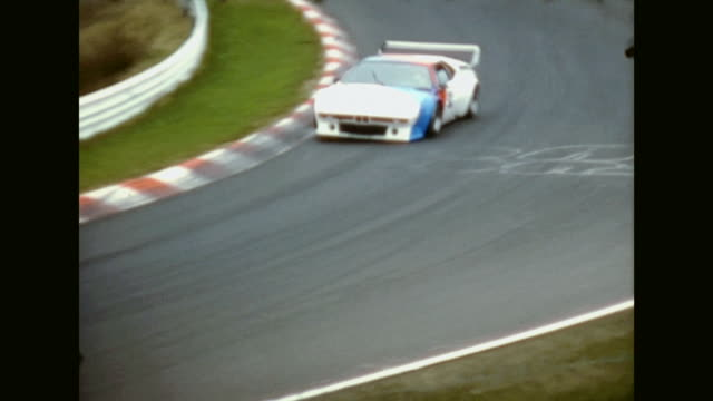 shot in the 1980s two different races of touring cars shot from one position in the audience famous BMW and Porsche touring cars