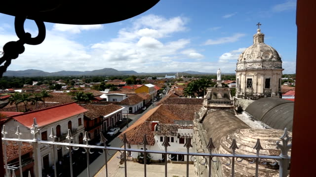 pov shot looking from bell tower of iglesia de la merced church. - nicaragua stock videos and b-roll footage