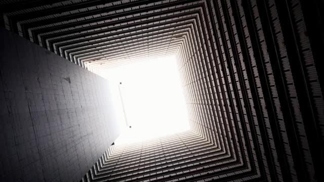 shot looking up and rotating in a building atrium, kowloon, hong kong - flat stock videos & royalty-free footage