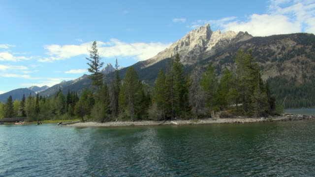 shot moving away from shore line of grand teton national park river - grand teton national park stock videos & royalty-free footage