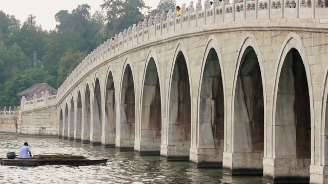 MS Shot of 17 Arch Bridge and Boat on Kunming Lake in Summer Palace / Beijing, China