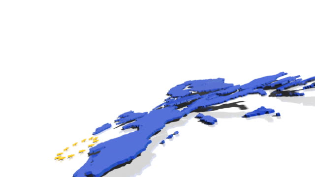 MS PAN Shot of 3D map of European Union complete with EU flag's 12 gold stars, crashes to ground, It lays broken, though each individual country remains intact