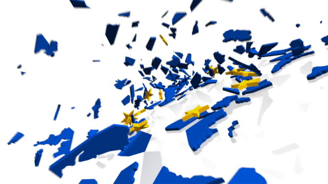 MS PAN Shot of 3D map of European Union complete with EU flag's 12 gold stars, crashes to ground and shatters into tiny pieces
