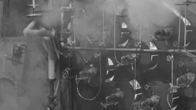 ms shot of  934 anchors ships engine room boiler with flames  - boiler stock videos & royalty-free footage