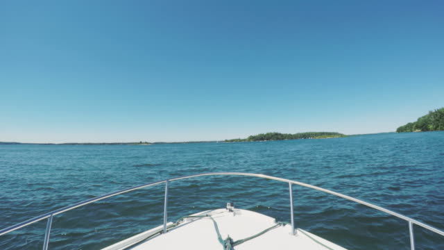 POV shot of a boat in the St Lawrence River - 4k