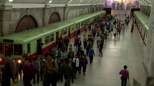 shot of a busy subway station in pyongyang - pyongyang stock videos and b-roll footage