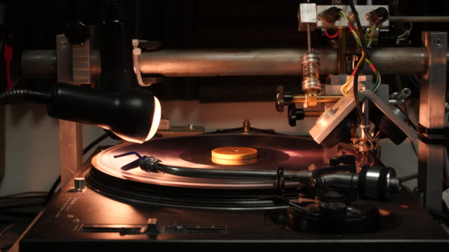 shot of a clear vinyl disc rotating on a vinyl carving turntable - lamp shade stock videos and b-roll footage