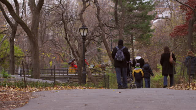 vídeos de stock, filmes e b-roll de shot of a family walking down a park path in new york city. - grupo pequeno de pessoas