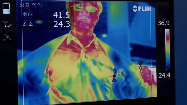 Shot of a man on the visual screen of thermo-graphic camera