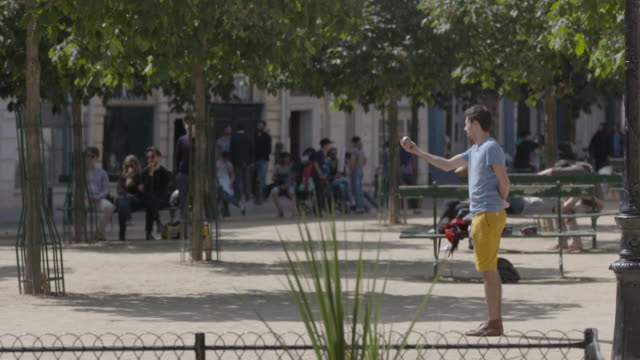 shot of a man throwing a boule and walking out of frame in the place dauphine, paris. - throwing stock videos & royalty-free footage