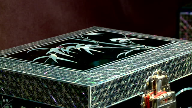shot of a najeonchilgi(lacquerware inlaid with mother-of-pearl) box - jewelry box stock videos and b-roll footage