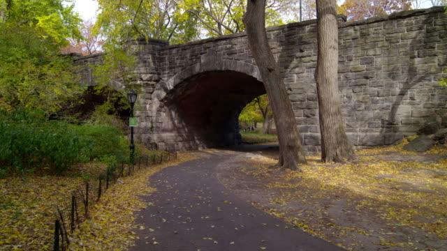 vidéos et rushes de shot of a path leading under a bridge in central park, new york city on a fall day - central park