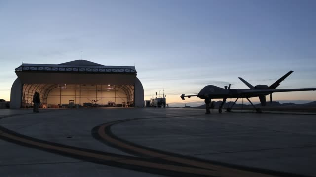 Shot of a Predator on the flight line US Air And Marine Predator Drones Launch For Missions Overlooking USMexico Border on March 07 2013 in Sierra...