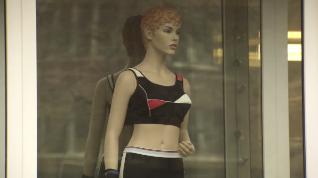 Shot of a shop window mannequin wearing support garments. Moscow.