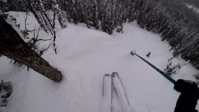 pov shot of a skier jumping a cliff in deep powder snow in the rocky mountains - 4k - exhilaration stock videos and b-roll footage