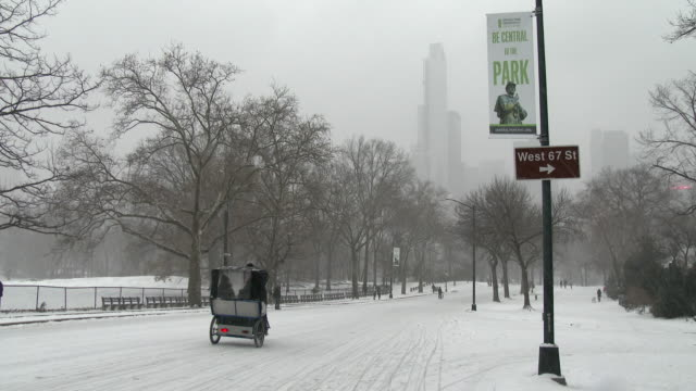 Shot of a snow cover street in Central Park, New York City on a snowy day. The sign pointing in the direction of 67th street is seen in the shot. A pedicab goes down the street