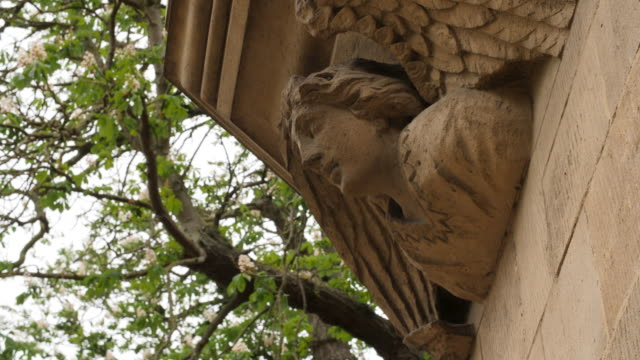 shot of a stone angel decorating the exterior of a building at trinity college, cambridge. - trinity college cambridge university stock videos & royalty-free footage
