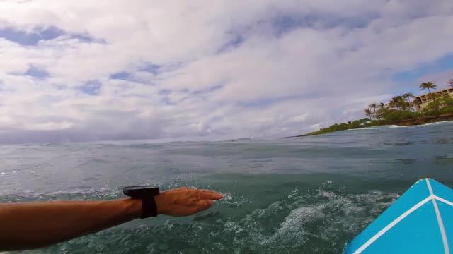 pov shot of a surfer paddling out past the wave break - タートル湾点の映像素材/bロール