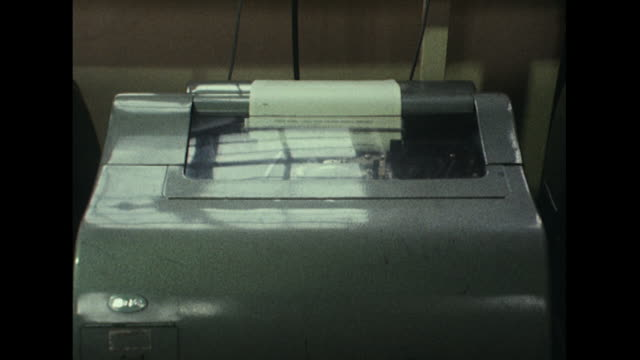 Shot of a teleprinter at the BBC's Monitoring service printing off a report on the Russian invasion of Czechoslovakia