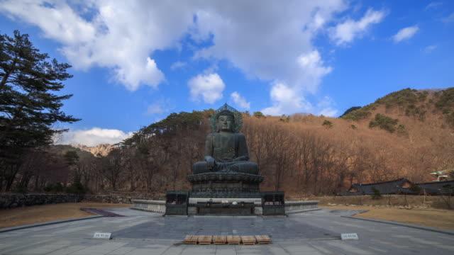 shot of a tongildaebul(statue of the buddha) at sinheungsa temple in seoraksan national park - figura maschile video stock e b–roll