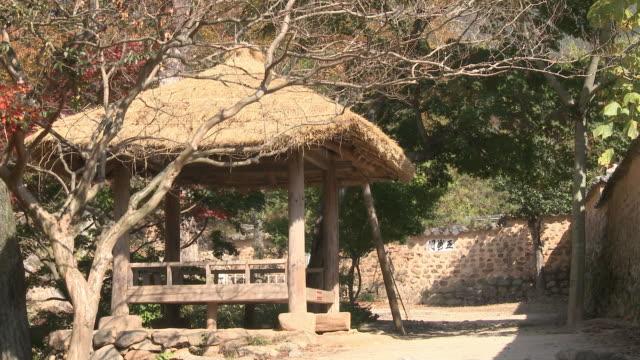 shot of a wondumak at soswaewon formal garden(scenic spot, historical site 304) - tetto di paglia video stock e b–roll