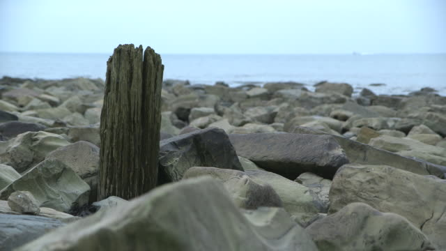 Shot of a worn wooden post on a boulder-strewn beach, Dorset, UK.