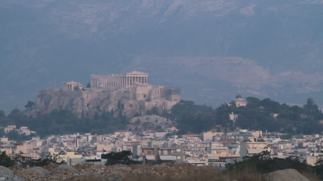 WS Shot of Acropolis with city / Athens, Greece