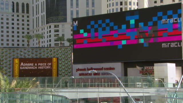 WS Shot of adevertise in big screen in city / Las Vegars, United States