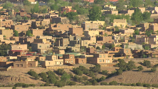 MS AERIAL ZI Shot of adobe style houses / Santa Fe, New Mexico, United States