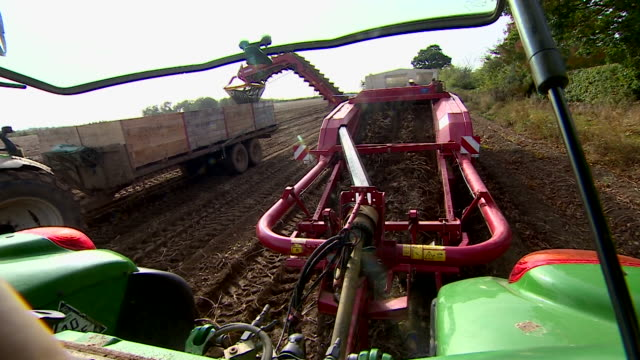Shot of agricultural machinery harvesting potatoes from a field