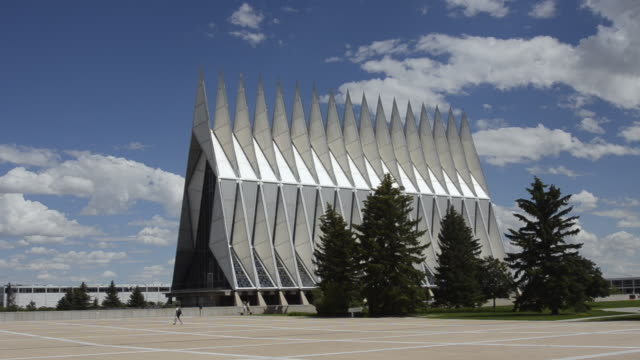 WS Shot of air force academy chapel for cadets exterior peaks / Colorado Springs, Colorado, United States