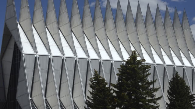 MS ZO Shot of air force academy chapel for cadets exterior peaks / Colorado Springs, Colorado, United States