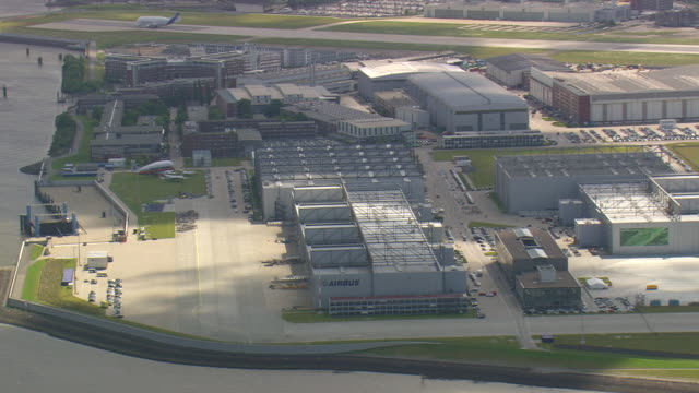 MS AERIAL Shot of airbus hanger at airport / Germany