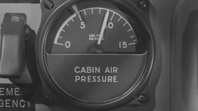 CU Shot of airplane pressure gauge