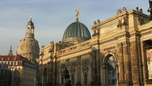 ms shot of albertinum, bruhlsche terrasse / dresden, saxony, germany - dresden germany stock videos & royalty-free footage