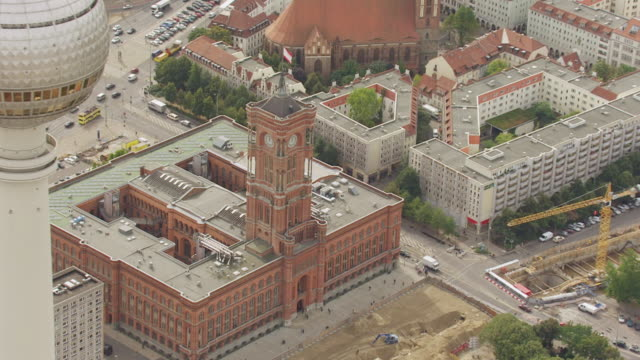 MS AERIAL DS Shot of Alexanderplatz to Red town hall / Berlin, Germany