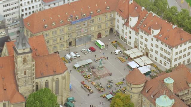 MS AERIAL DS ZI Shot of Altes Schloss and flower market / Stuttgart, Baden Wurttemberg