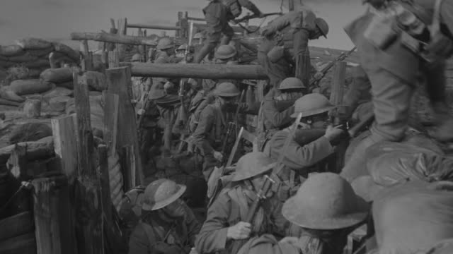 ms shot of american soldiers follow order and going ahead from trench  - trincea video stock e b–roll