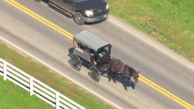 vídeos de stock e filmes b-roll de cu aerial ts shot of amish driving horse and buggy labeled as carriage riding on road with cars / pennsylvania, united states - amish