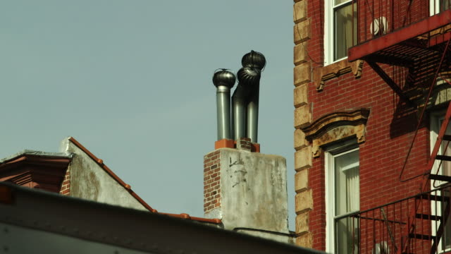 Shot of an air conditioning unit atop a building in Greenwich Village, NY