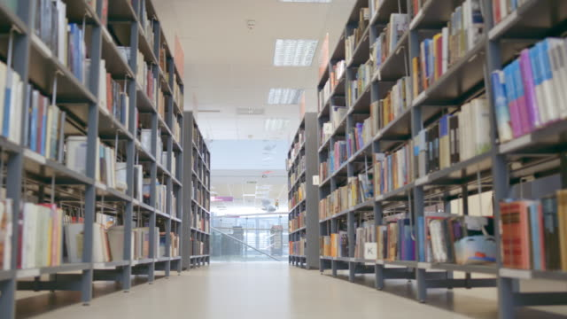 ds shot of an empty public library - library stock videos & royalty-free footage