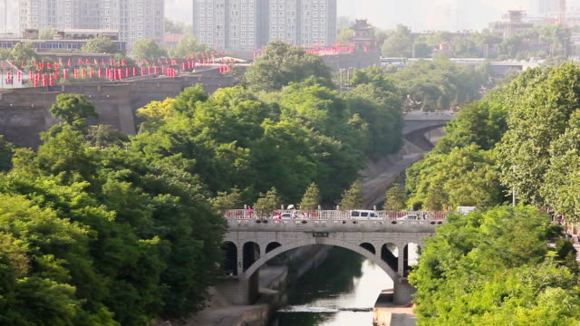 ms shot of ancient city wall and moat / xian, shaanxi, china - moat stock videos & royalty-free footage
